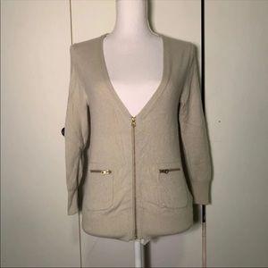 J Crew Cashmere Grey Cardigan Zipper S